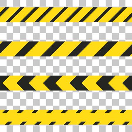No cruce la línea de cinta de precaución del vector. conjunto de cintas de advertencia de la policía sin fisuras. Prohibir líneas aisladas de color amarillo.