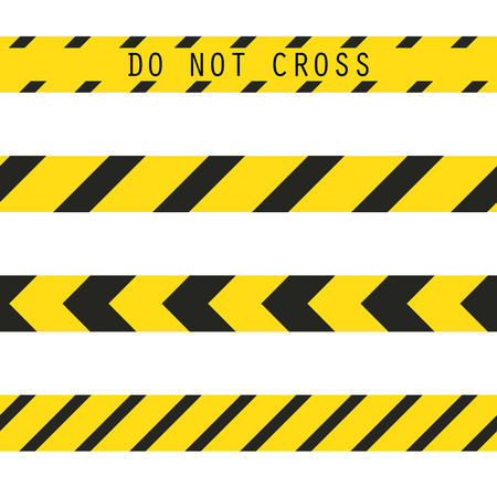 prohibiting: Do not cross the line caution vector tape. Seamless police warning tape set. Prohibiting yellow lines.