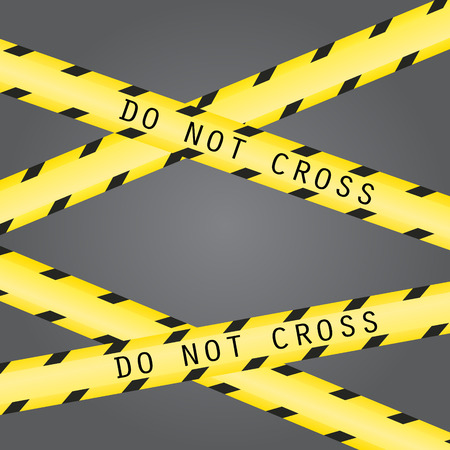 Do not cross the line caution vector tape. Seamless police warning tape set. Prohibiting crossed yellow lines. Crime scene restricted zone. Illustration