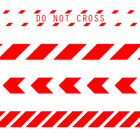 Do not cross the line caution vector tape. Seamless police warning tape set. Prohibiting red lines.