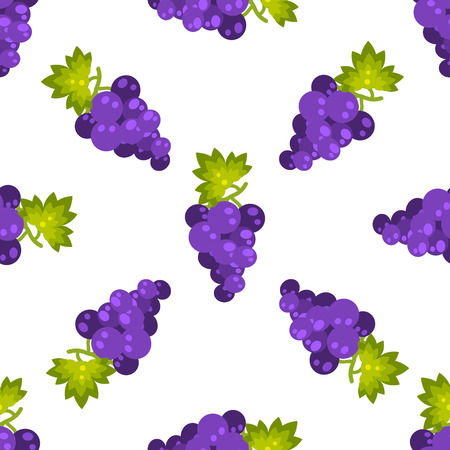 purple grapes: Purple grapes fruit seamless vector pattern. Healthy vegetarian lifestyle kitchen tablecloth print design. Illustration