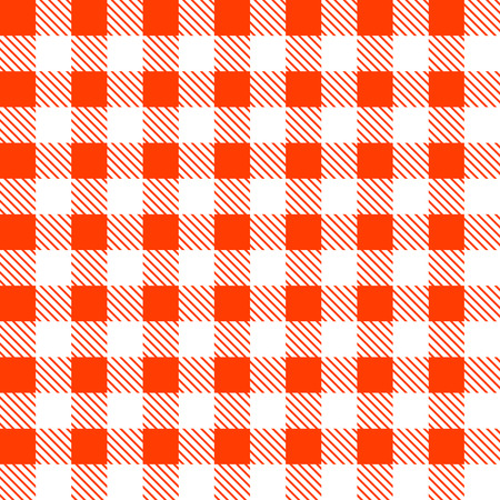Tartan Plaid Seamless Pattern. Kitchen Red Checkered Tablecloth Fabric  Background. Vector