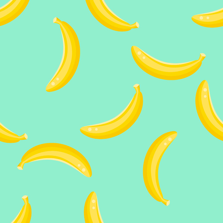 tropical fruit: Banana fruit seamless vector pattern. Yellow banana food background on green mint.