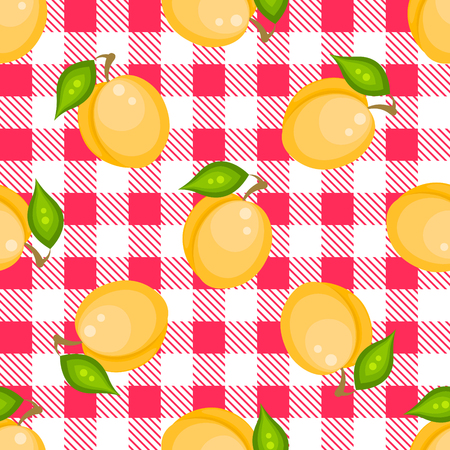 apricots: Tartan plaid with apricots seamless pattern. Kitchen pink checkered tablecloth fabric background.