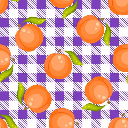tartan plaid: Tartan plaid with peaches seamless pattern. Kitchen purple checkered tablecloth fabric background.