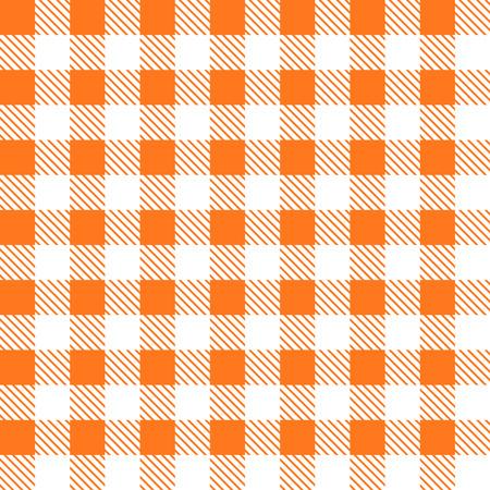 tartan plaid: Tartan plaid seamless pattern. Kitchen checkered orange tablecloth fabric background.
