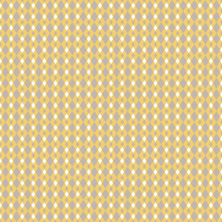 マスタード イエローとベージュ幾何学的シームレス パターン。古典的なシンプルな菱形のスタイル。  イラスト・ベクター素材