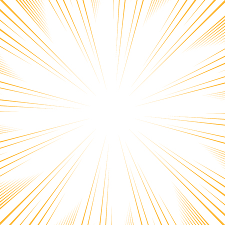 comic book speed lines background. Starburst yellow lines explosion in manga or pop art style.