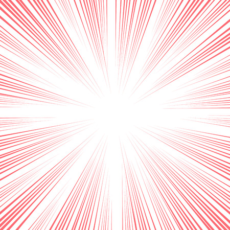 comic book speed lines background. Starburst red explosion in manga anime or pop art style.