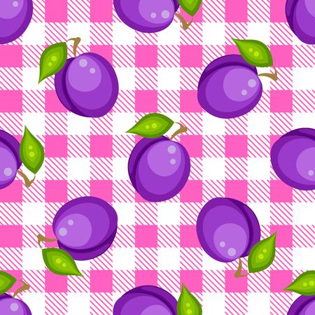 tartan plaid: Tartan plaid with plums seamless pattern. Kitchen pink checkered tablecloth fabric background.