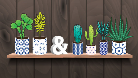 houseplants: Succulents and cactus plants in pots. Houseplants in blue ceramic pots on shelf decoration set. Ampersand sign 3d interior decor. Illustration