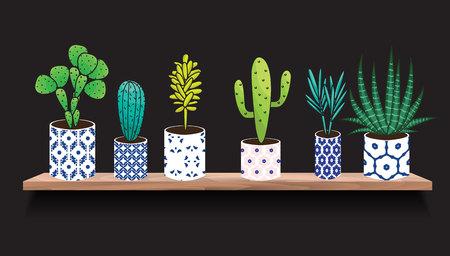 Succulents and cactus plants in pots. Houseplants in blue ceramic pots on shelf decoration set. Interior gardening decor. Illustration