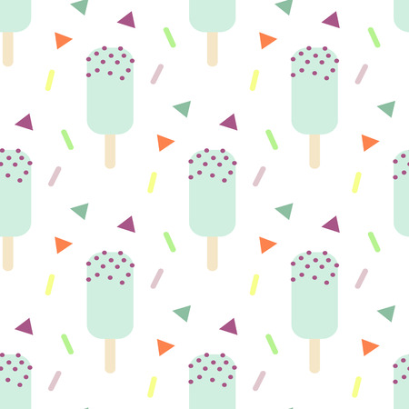 pastel backgrounds: Mint ice cream seamless vector pattern. Blue icecream stick with chocolate chips and triangle confetti. Kid pattern.