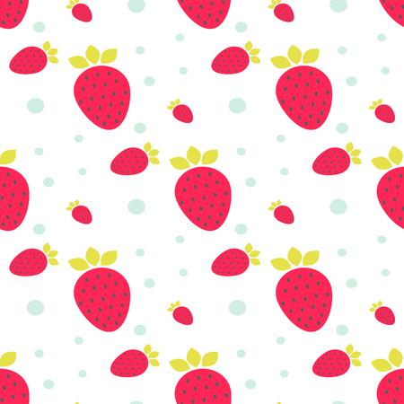 comiendo fruta: Modelo incons�til del vector de color rosa fresa de menta con los puntos y c�rculos. Vectores
