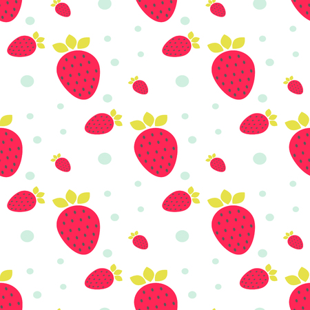 cartoon strawberry: Strawberry pink seamless vector pattern with mint dots and circles.