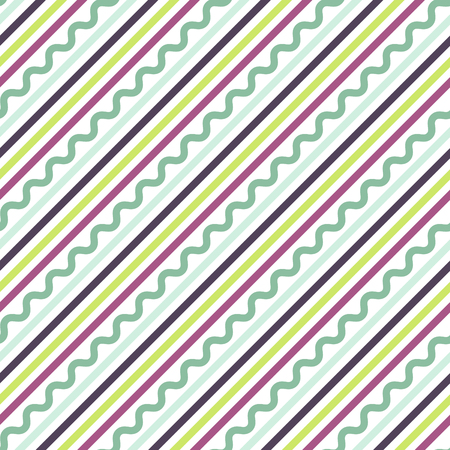 oblique line: Diagonal oblique green, purple and mint line pattern. Stripes and zigzag vector seamless background.