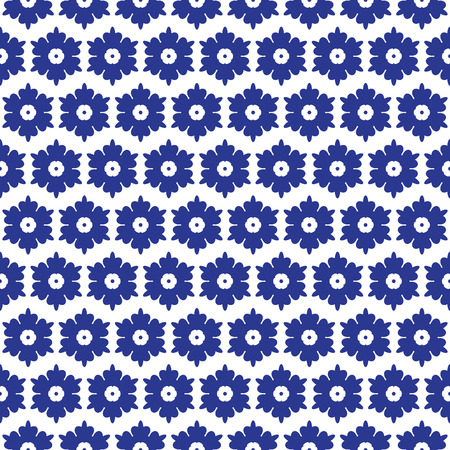 tiles floor: Blue and white moroccan seamless pattern. Oriental abstract motifs. Ceramic or textile pattern tiles. Illustration