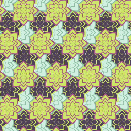plantation: Succulent green and purple geometric plants seamless pattern. Abstract cacti plantation design.