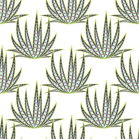 agave: Agave succulent desert seamless pattern. Green mint botany aloe vera plantation vector background.