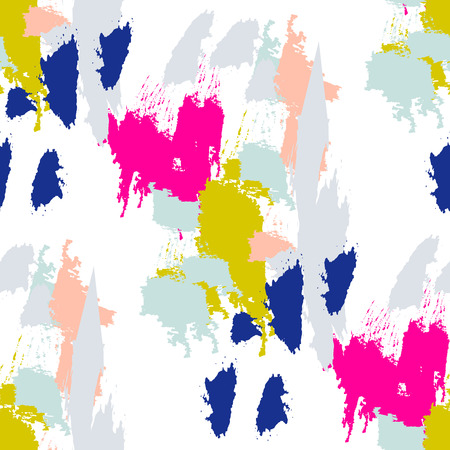 Acrylic paint brush strokes vector seamless pattern. Artistic colorful stains and swabs in abstract manner.