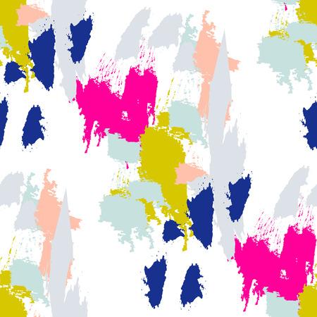 Cepillo de pintura acrílica trazos vector sin patrón. manchas de colores artísticos y los hisopos en forma abstracta.