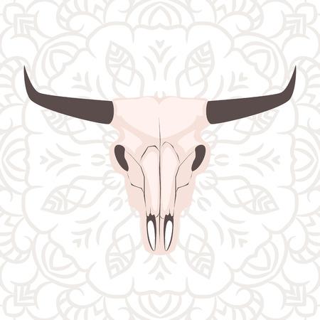 cranium: Longhorn cow skull head vector illustration. Animal cranium on subtle openwork background in boho style..