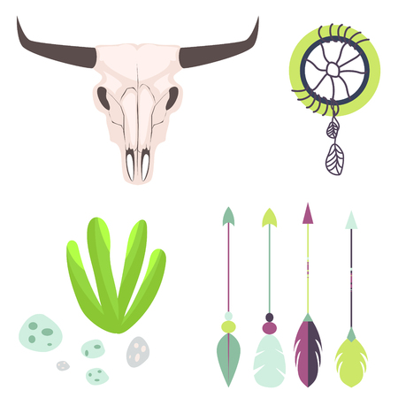 cow skull: Longhorn cow skull head vector illustration. Isolated on white animal cranium. Tribal set with bull skeleton, arrows, dreamcatcher and succulent plant.