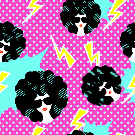 Retro 80s disco party seamless pattern vector. Pink polka dot pop art background with lightning, girl with black curly 80s hairstyle.