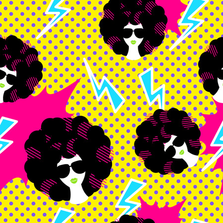 Retro 80s disco party seamless pattern vector. Yellow polka dot pop art background with lightning, girl with black curly 80s hairstyle.