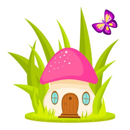 quaint: Mushroom house cartoon vector illustration. Mushroom home for kid cartoon, book, sticker, tshirt applique or game asset.