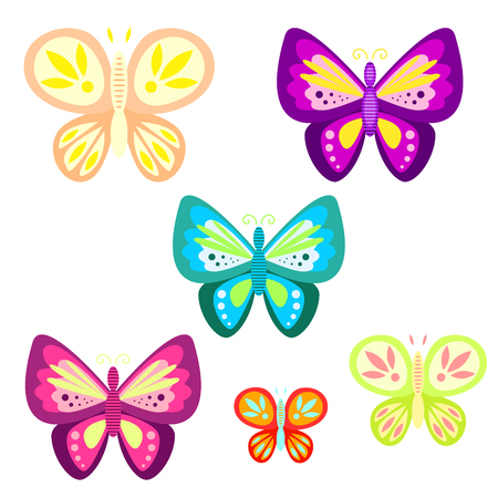 white butterfly: Butterfly set cartoon vector illustration. Butterfly insect for kid cartoon, book, tshirt applique, sticker or game asset.