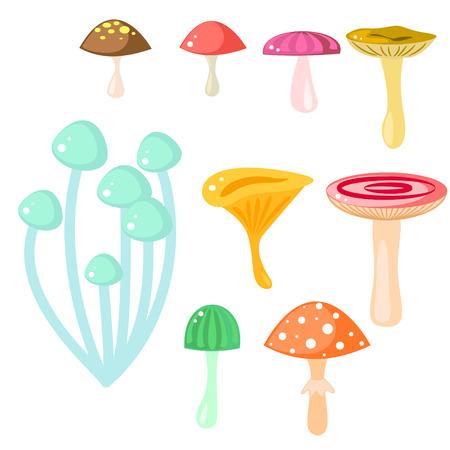 food poison: Isolated cartoon mushrooms vector on white. Fungus, amanita, russule and saffron milk cap clip art. Forest magic fungus, game asset.