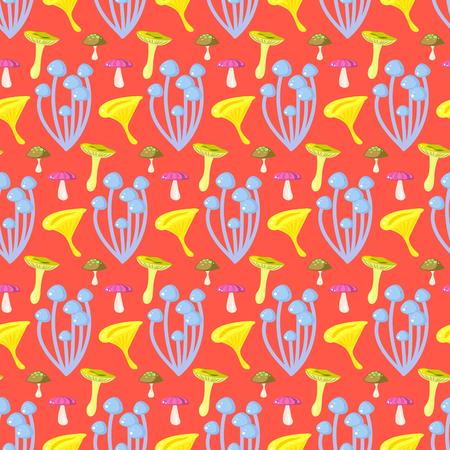 forêt de printemps champignon champignon pattern. Cartoon corail champignon fond rouge.