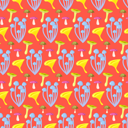 Spring forest toadstool mushroom seamless pattern. Cartoon coral red fungus background.