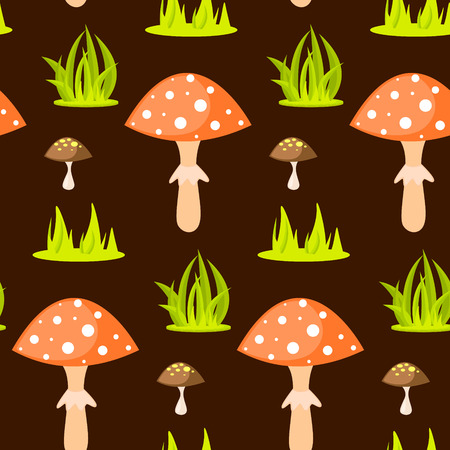 fungus: Spring forest mushroom seamless pattern. Cartoon fungus background. Illustration