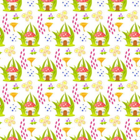 a fly agaric: Spring forest mushroom home seamless pattern. Cartoon fungus white background.