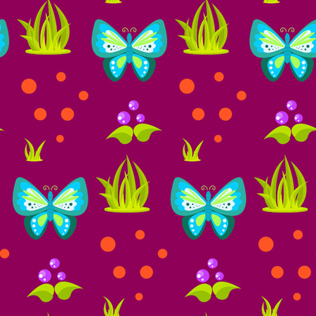 mushroom cartoon: Spring forest blue butterfly seamless pattern. Cartoon purple plant background.
