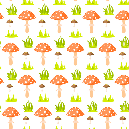 a fly agaric: Spring forest mushroom seamless pattern. Cartoon fly-agaric fungus background.