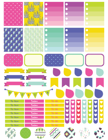 Stickers and label tags colorful set. Planner stickers, to do list card notes, memo for scrapbook and notepad. Illustration