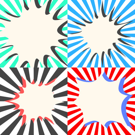 Comic book vector bubble effects set. Sunburst ray background with speech cloud. Vectores