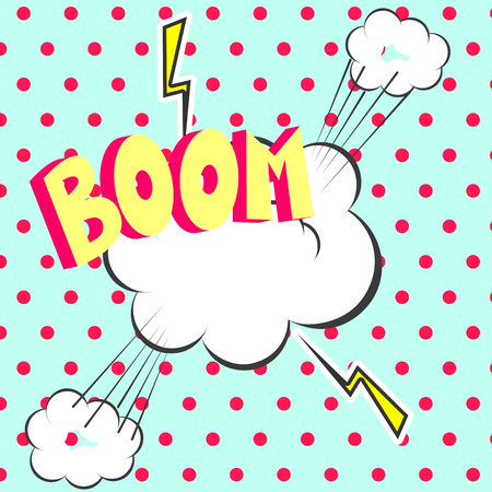bomb cartoon: Comic book boom inscription vector effects. Pop art retro polka dot background with lightning and burst clouds.