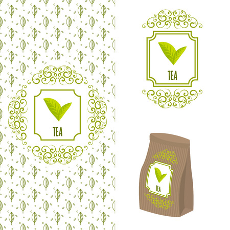 Green tea branding concept. Packaging ornate template for organic tea and green coffee. Eco paper bag with tea label and seamless leaf line pattern..