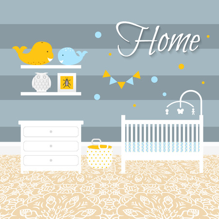 nursery room: Nursery room with white furniture. Baby blue interior. Boy room scandinavian design with bed, crib mobile, chest of drawers, and toy whale. Flat style vector illustration. Illustration