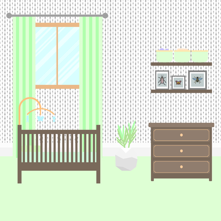 toy chest: Nursery room with brown furniture. Baby green interior. Boy room design with bed, crib mobile, chest of drawers and storage shelves. Flat style vector illustration.