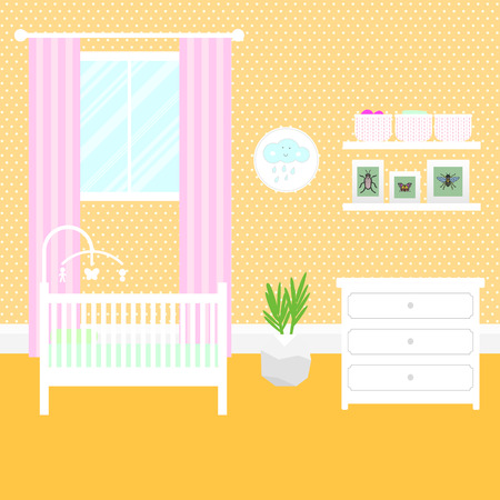 toy chest: Nursery room with white furniture. Baby yellow interior. Girl room design with bed, crib mobile, chest of drawers and window. Flat style vector illustration.