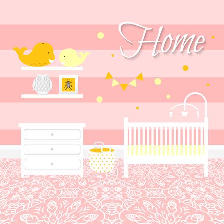 chambre de bébé avec des meubles blancs. Bébé intérieur rayure rose. Fille conception de chambre avec lit, lit mobile, commode et jouets bin. Chaussez étage ornement. Flat illustration vectorielle de style.