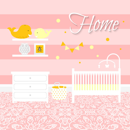 nursery room: Nursery room with white furniture. Baby pink stripe interior. Girl room design with bed, crib mobile, chest of drawers and toy bin. Lace ornament floor. Flat style vector illustration. Illustration