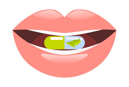 pastille: Medicine pill intake. Pill in mouth. Capsule in mouth vector illustration. Illustration