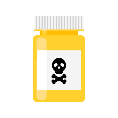 pastille: Poison pharmacy bottle vector icon. Isolated drug yellow bottle container with skull sign on label.