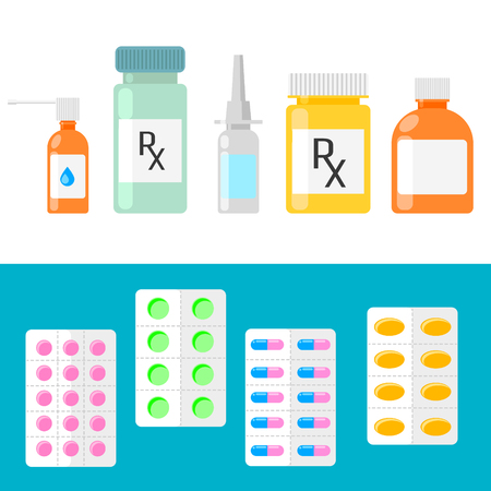 pastille: Pills, capsules and prescription bottles. Medical icons vector set. Pharmaceutical products.